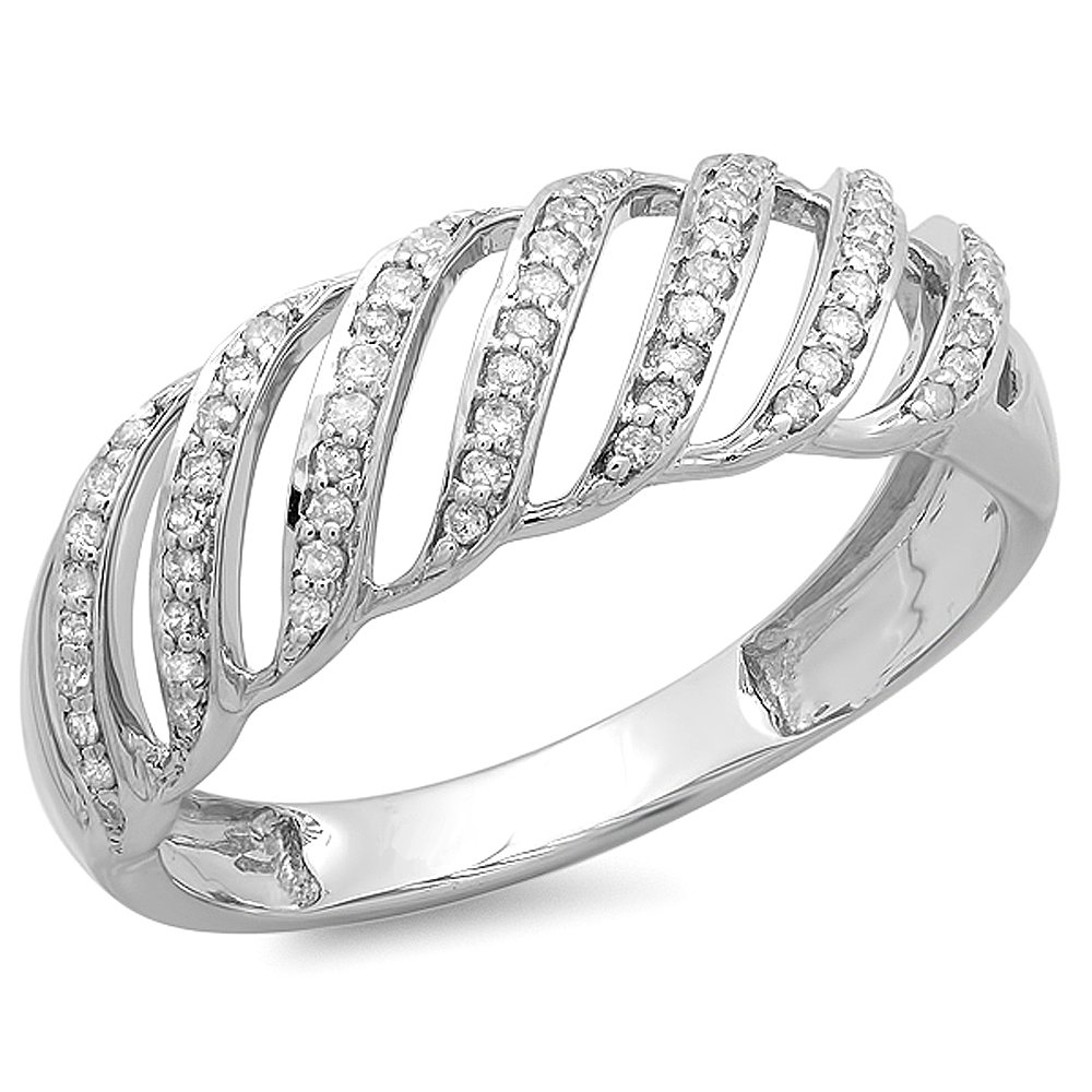 0.30 Carat (ctw) Sterling Silver Round Diamond Ladies Cocktail Band Ring 1/3 CT (Size 8)