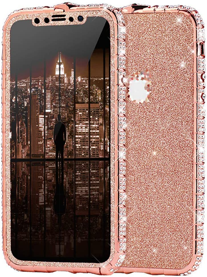 Case for iPhone Xs Max Cover,Girl Women Luxury Sparkly Bling Glitter Rhinestone Diamond Metal Button Bumper Case Cover & Shiny Glitter Sticker Protective Cover for iPhone Xs Max Diamond Case,Rose Gold