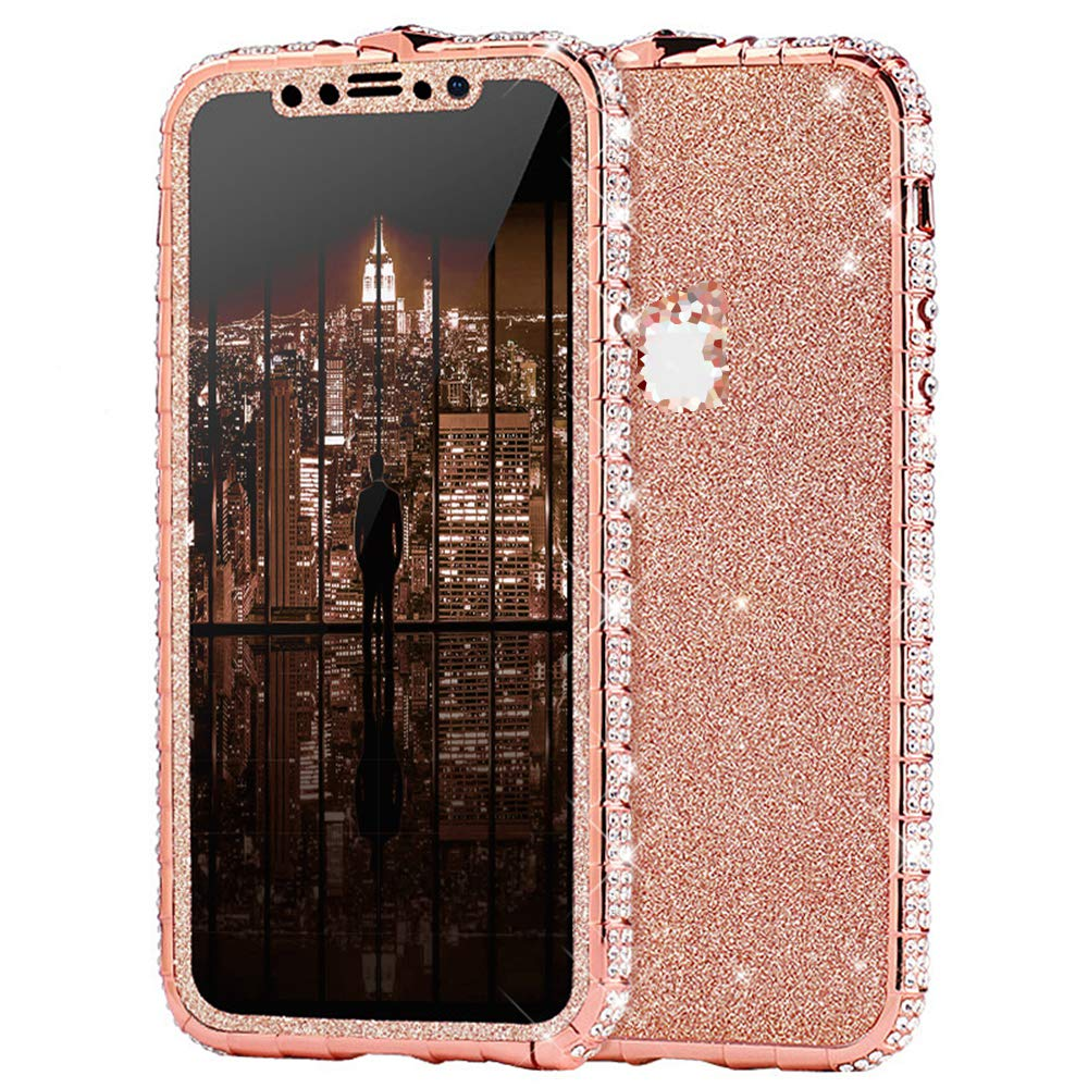 Case for iPhone Xs Max Cover,Girl Women Luxury Sparkly Bling Glitter Rhinestone Diamond Metal Button Bumper Case Cover & Shiny Glitter Sticker Protective Cover for iPhone Xs Max Diamond Case,Rose Gold by ikasus