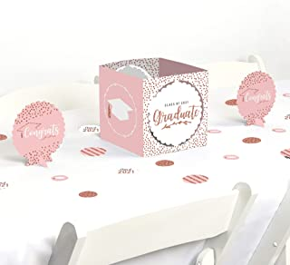 product image for Big Dot of Happiness Rose Gold Grad - 2021 Graduation Party Centerpiece and Table Decoration Kit