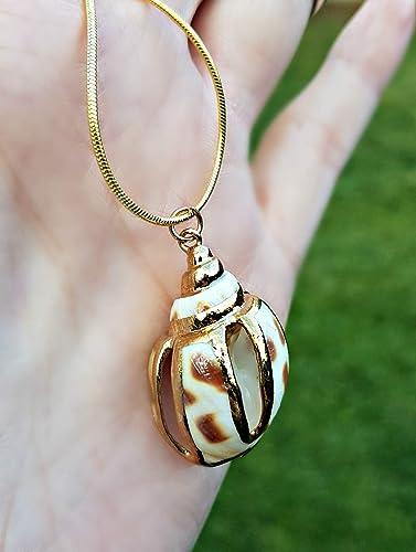 Chaîne en or 18 carats Coquillage Tacheté Pendentif , Bijoux de style de  plage pour les