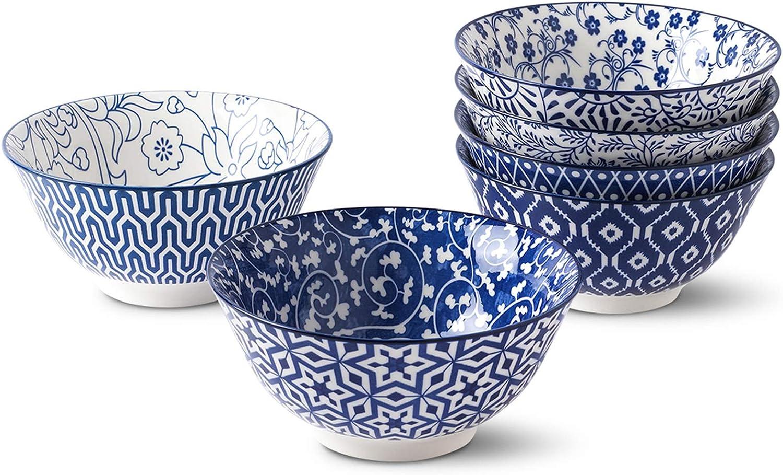 Selamica Porcelain 20oz Bowls Set - Set of 6, 6 inch ceramic bowls for Cereal, Soup, Salad and Pasta, Vintage Blue, Gift Pack