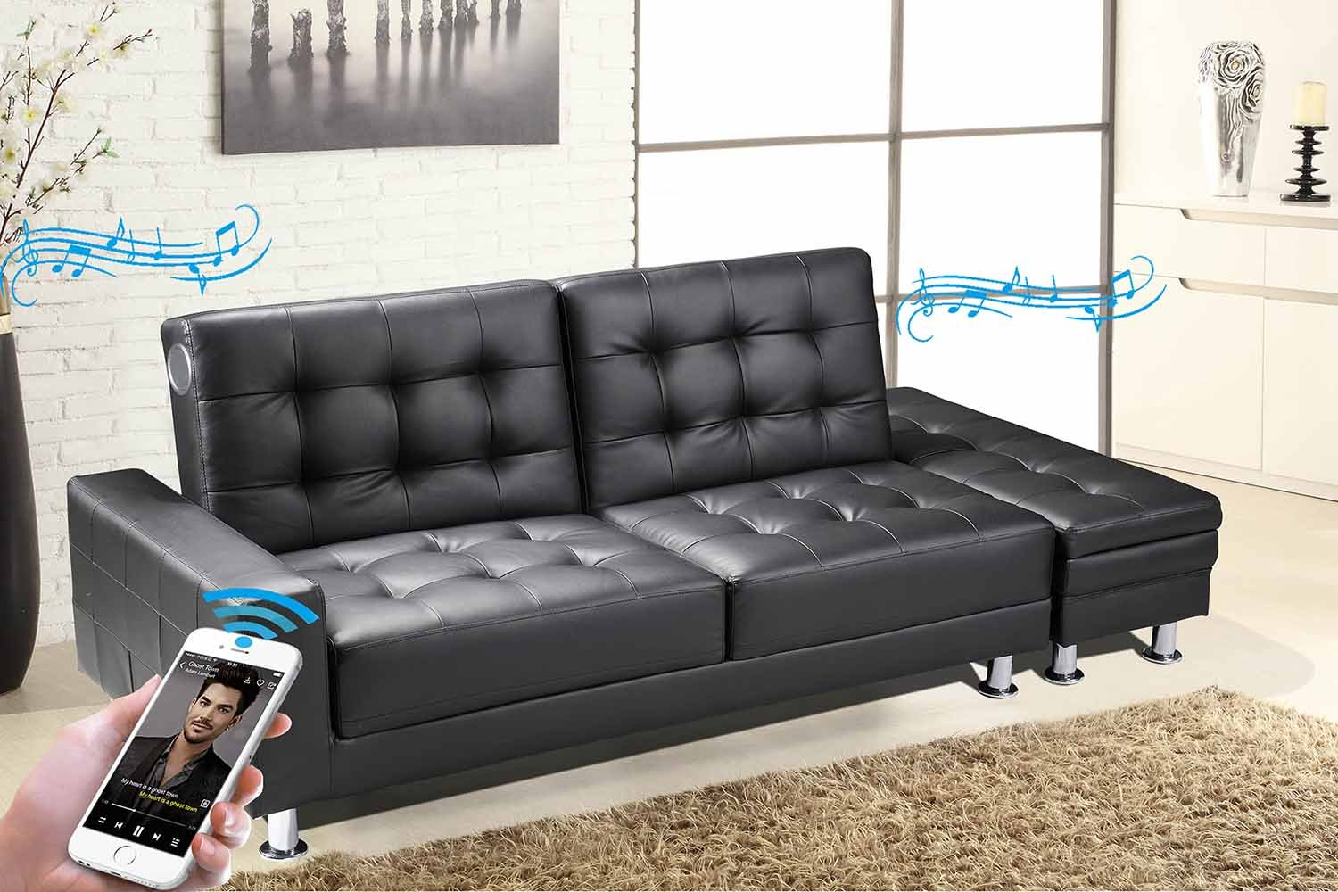 New Contemporary Modern Knightsbridge Faux Leather Storage Ottoman Fold  Down Sofa Bed In Black With Built In Bluetooth Stereo Speakers (Black): ...