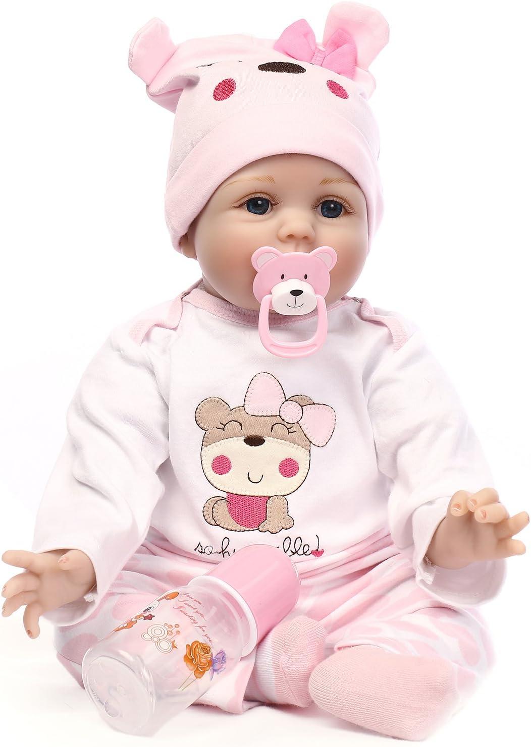 iCradle Reborn Baby Dolls Handmade 22//55cm Reborn Doll Baby Girl Very Lifelike Soft Silicone Reborn Dolls Toddler Child Growth Partner Xmas Gift