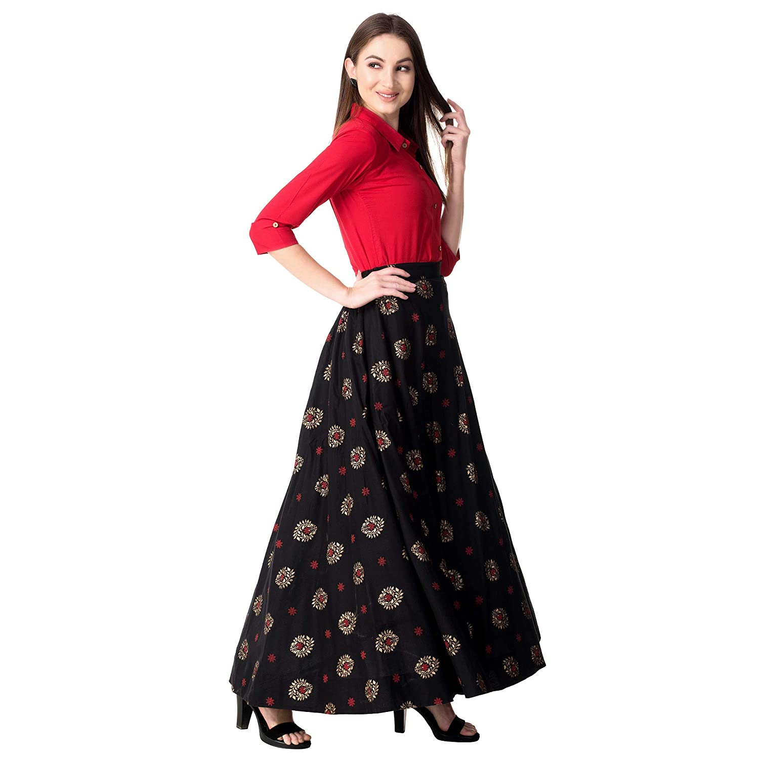 15d02a94931dc7 Khushal K Women s Rayon Top With Long Skirt Set  Amazon.in  Clothing    Accessories