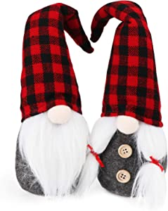ABSOFINE Christmas Gnome Plush Swedish Gnomes Handmade Tomte Gnomes 12'' Xmas Table Decorations Scandinavian Santa Elf for Christmas Holiday Home Decor Gift, Plaid