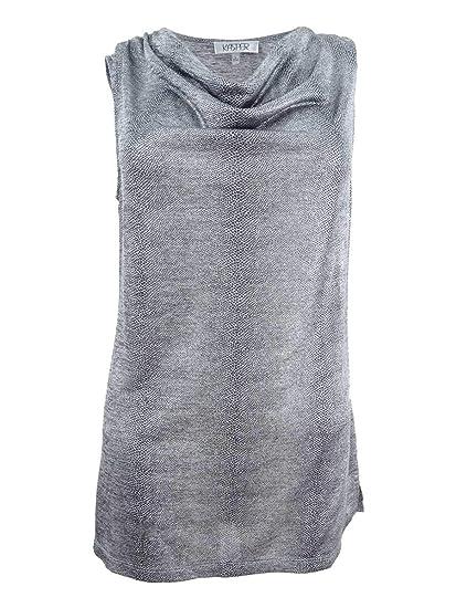 7f90d1509c Amazon.com: Kasper Womens Cowl Neck Shell Print Pullover Top Gray M:  Clothing