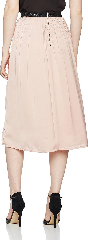 Calvin Klein Kanya Logo Elastic WB Midi Skirt Gonna Donna Rosa (Mellow Rose 690)