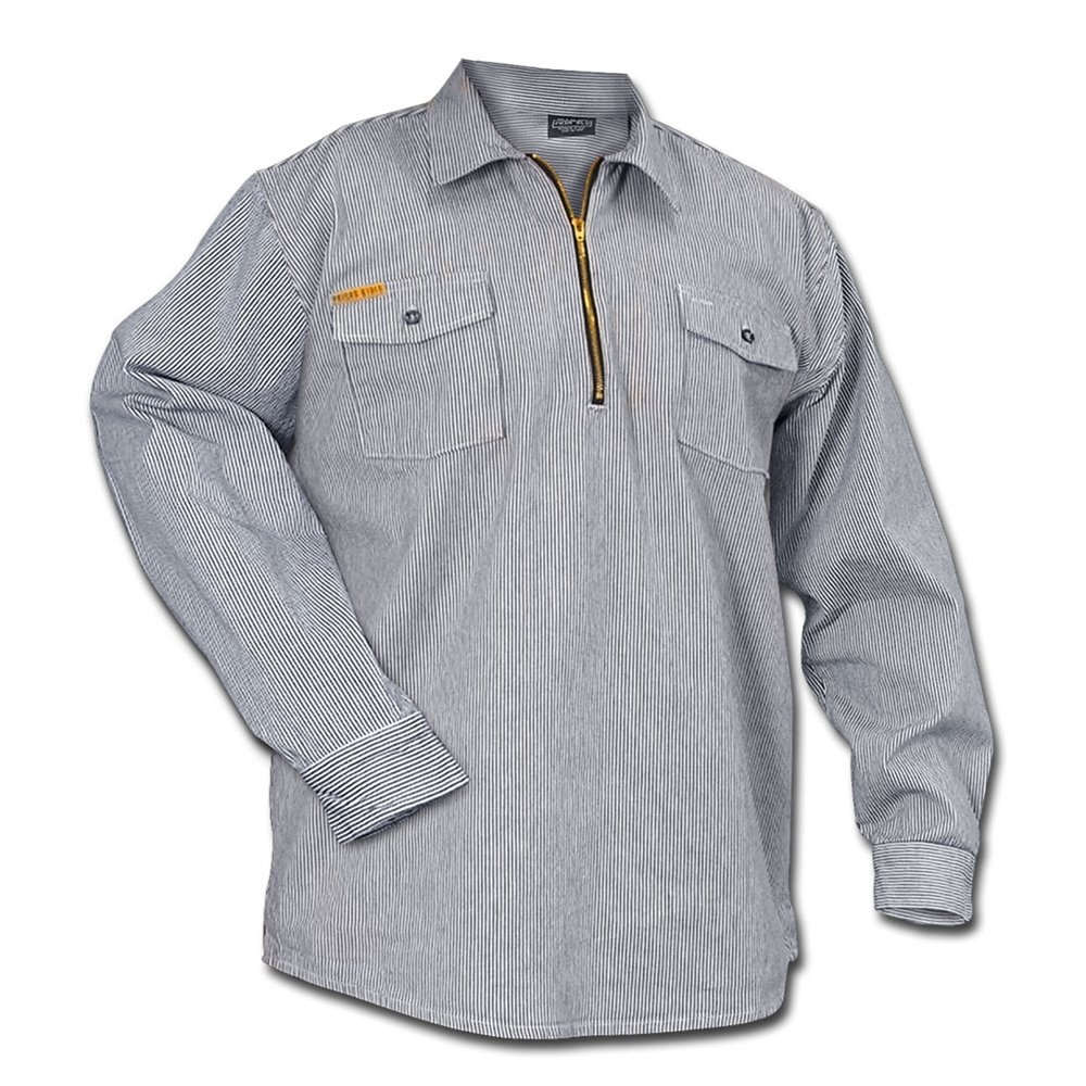 Men's Vintage Workwear – 1920s, 1930s, 1940s, 1950s Prison Blues Long Sleeve 1/2 Zip Hickory Shirt - Regular $34.88 AT vintagedancer.com
