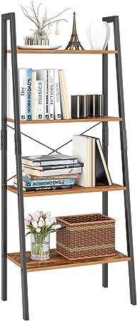Homfa Estantería Escalera Librería de Pared Estantería Metálica para Salón Terraza Dormitorio con 4 Niveles Vintage y Negro 56x34.5x138cm: Amazon.es: Hogar