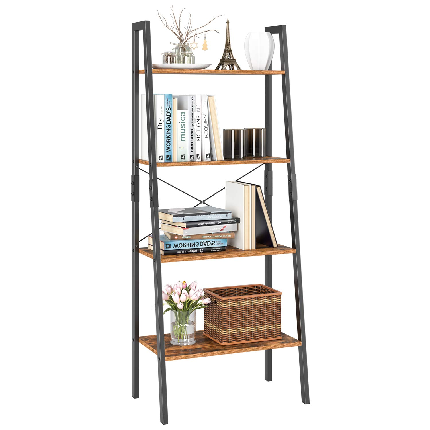 Homfa Ladder Shelf 4 Tier Vintage Bookshelf Bookcase Multifunctional Plant Flower Stand Storage Shelves Rack Wood Look Accent Metal Frame Modern Furniture Home Office by Homfa