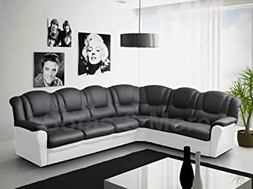 Texas Big Corner Sofa Suite Black And White Faux Leather Amazon
