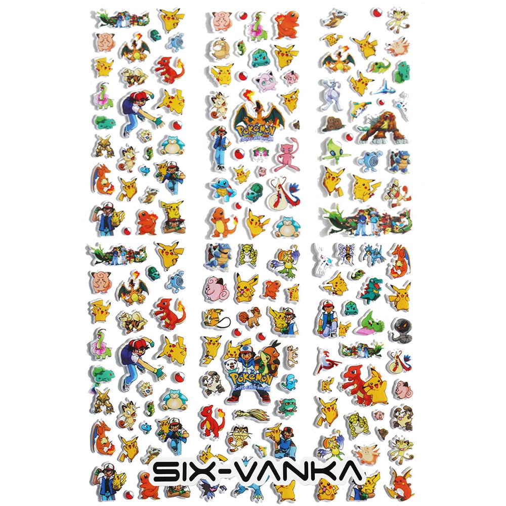 SIX VANKA Pokemon Go 3D Puffy Stickers Pikachu 6 Sheets