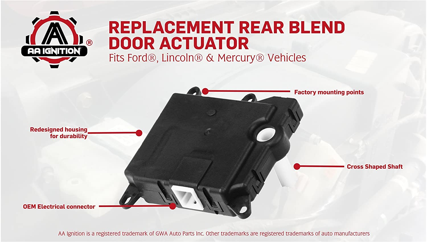 Rear Blend Door Actuator - Replaces 604-213, 1L2Z19E616BA, YH-1743 - Fits  Ford Expedition, Explorer, Lincoln Navigator, Aviator, Mercury Mountaineer  -