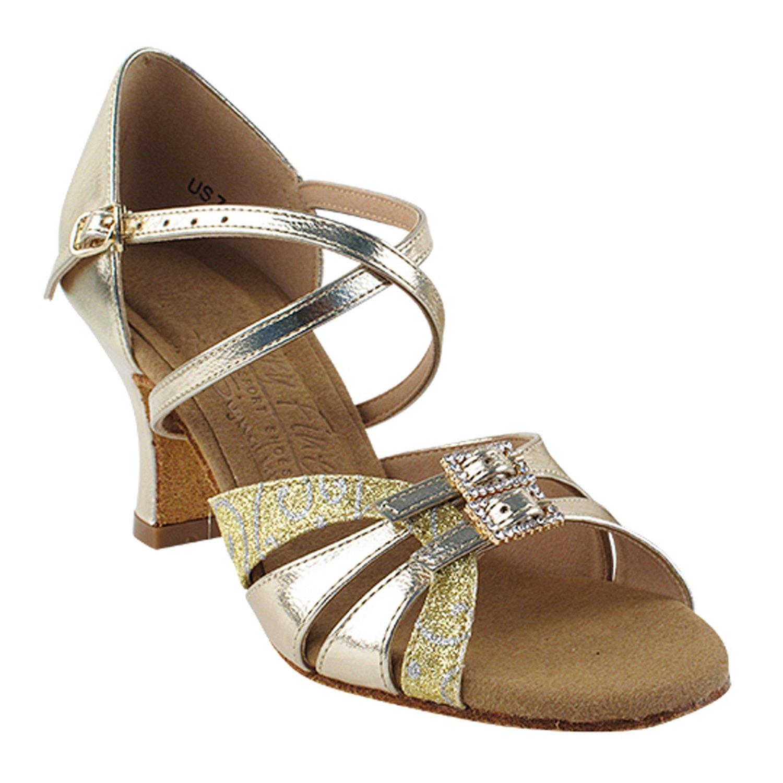 "2703 Silver Sparkle Latin Dance Shoes heel 3/"" Sz 9 Ballroom Salsa Very Fine"