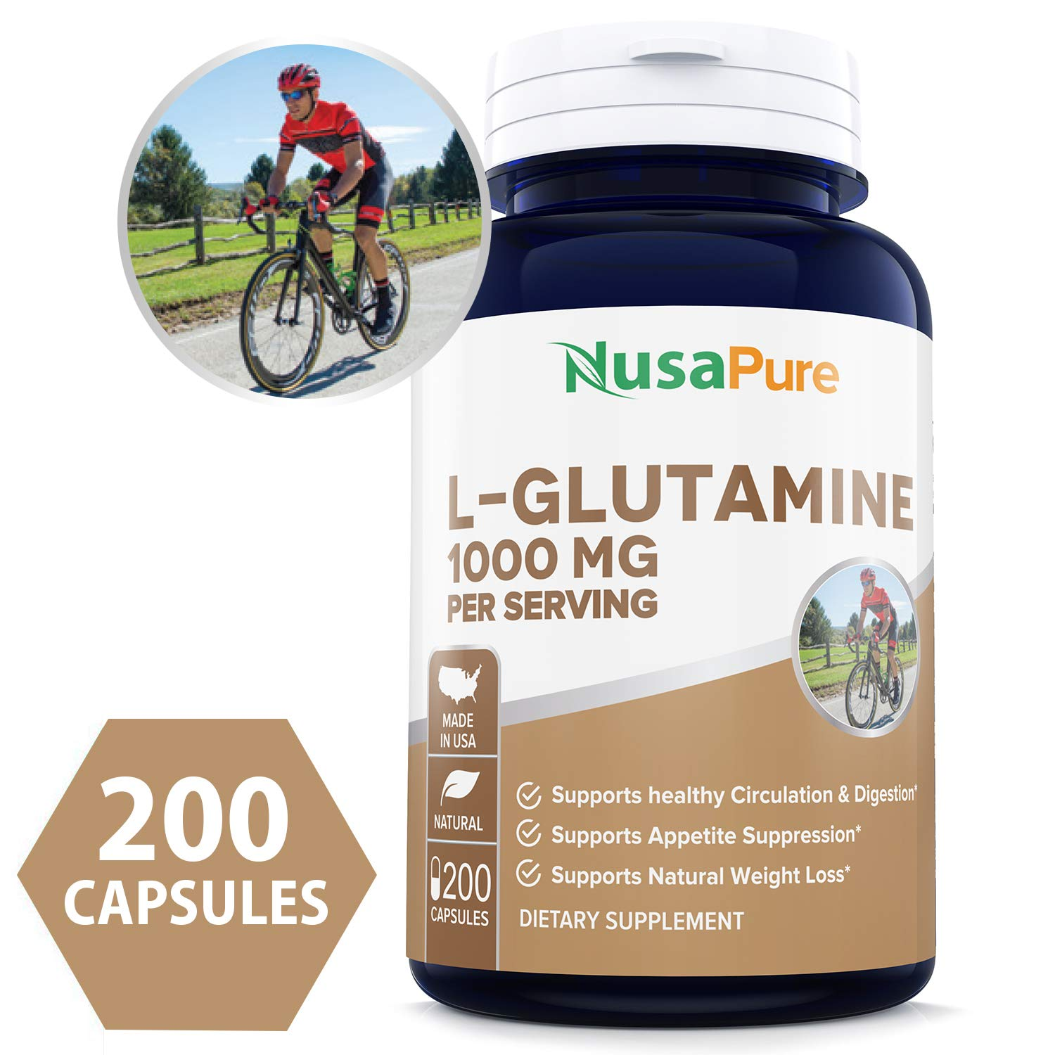 Best L-Glutamine 1000mg 200 Capsules (Non-GMO & Gluten Free) Supports Muscle Mass & Recovery, Gastrointestinal Tract & Immune Function - 500mg per Caps ★100% Money Back Guarantee★