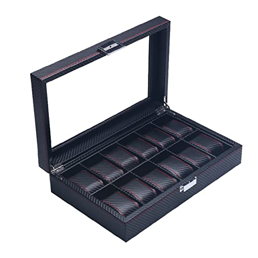 The perseids Fibra Carbono Reloj Caja para 12 Relojes, Estuche para Relojes con 12 Compartimentos and Almohadas extraíbles de Fibra de Carbono (12 Relojes): ...
