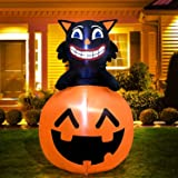 4 Ft Halloween Inflatable Black Cats with Pumpkin Halloween Decorations Outdoor Blow Up with LED Lights for Halloween Yard La
