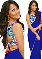 Sarees (Women's Clothing Saree For Women Latest Design Wear Sarees New Collection in Gold Coloured Georgette Material Latest Saree With Designer Blouse Free Size Beautiful Bollywood Saree For Women Party Wear Offer Designer Sarees With Blouse Piece)