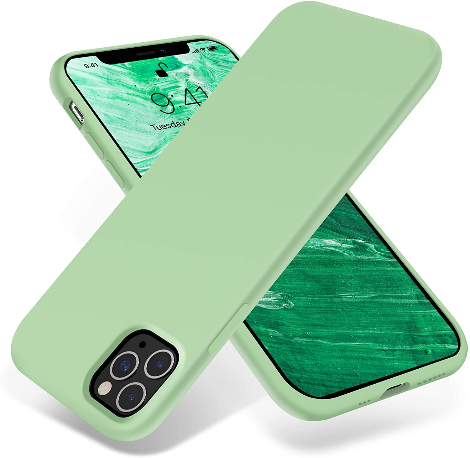 OTOFLY iPhone 11 Pro Case,Ultra Slim Fit iPhone Case Liquid Silicone Gel Cover with Full Body Protection Anti-Scratch Shockproof Case Compatible with iPhone 11 Pro (Tea Green)