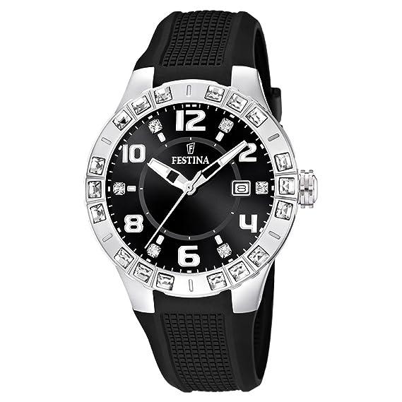 Festina Dream Time - Reloj analógico de mujer de cuarzo con correa de plástico negra