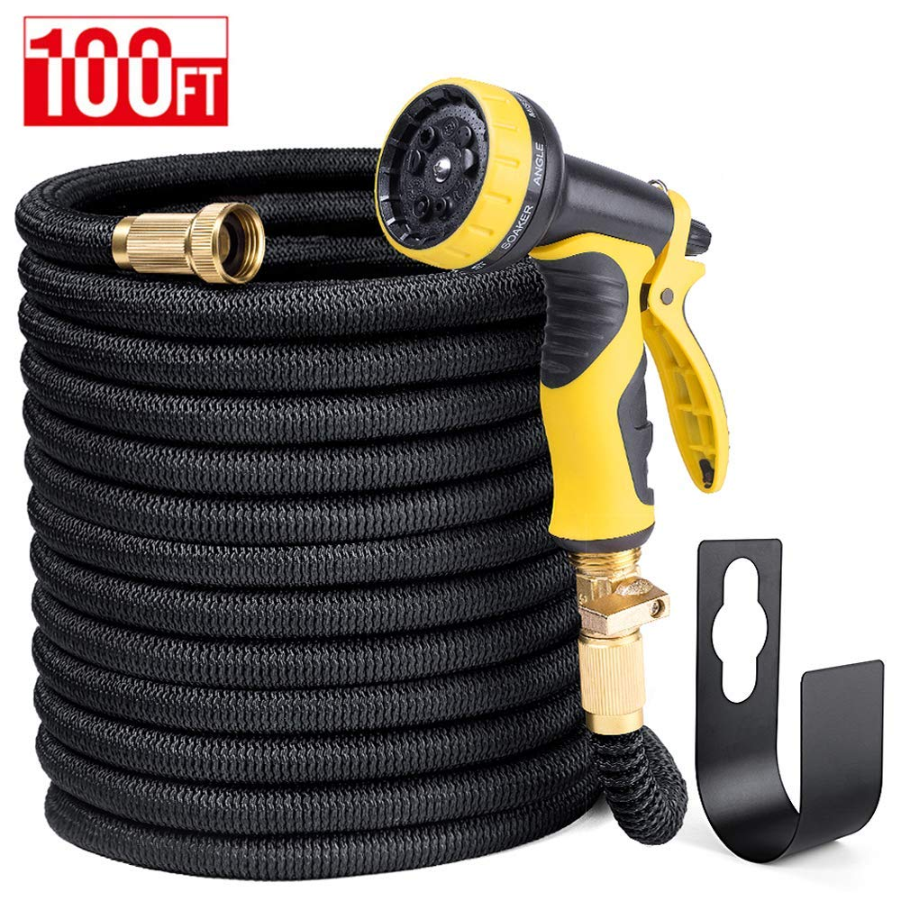 Delxo 100FT Expandable Garden Hose Water Hose with 9-Function High-Pressure Spray Nozzle,Black Heavy Duty Flexible Hose, 3/4'' Solid Brass Fittings Leakproof Design (Black)