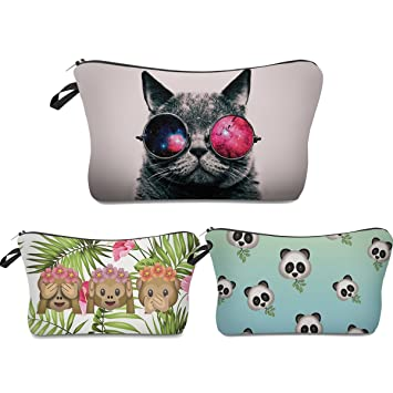 3b4e733c60 Amazon.com : Roomy Cosmetic Bag, 3 piece Set Deanfun Waterproof Travel  Toiletry Pouch Makeup with Zipper (Cat+Monkey Emoji+Panda) : Beauty