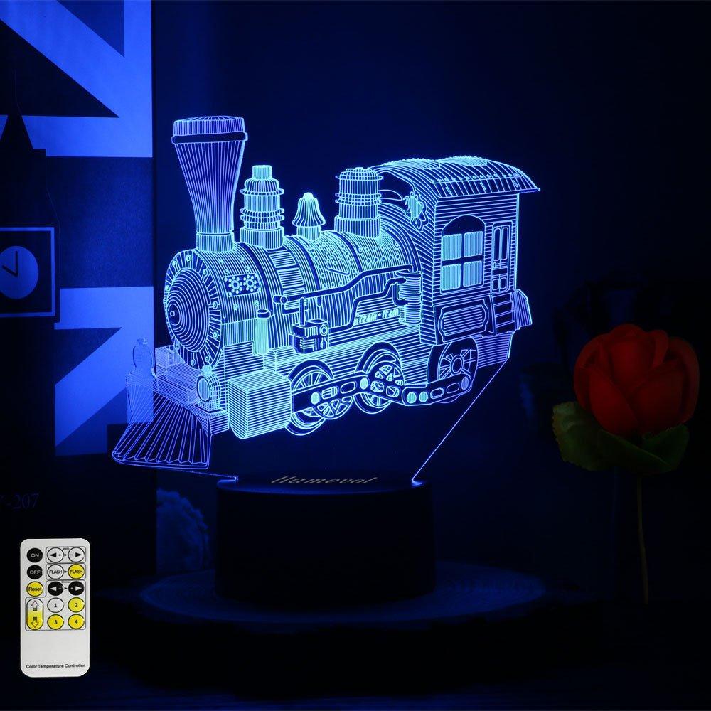 ギフトアイデアナイトライト3dイリュージョンランプ動物ライトLEDデスクランプユニークなギフト赤ちゃんホーム装飾オフィス寝室ウェディングパーティーデコレーション子供部屋照明7色 LLAM03 B07CTQRY6G 14711  Steambtrain Remote