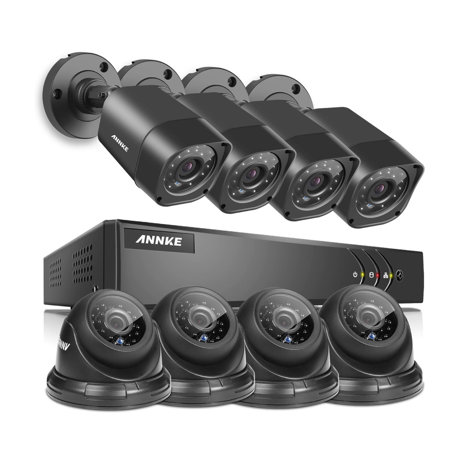 ANNKE 8-Channel HD 1080N Home Security System DVR and (8) 720P Indoor/Outdoor Weatherproof Cameras with IR Night Vision LEDs, Remote Access - NO HDD by SANNCE (Image #1)