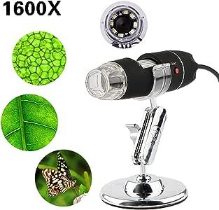 1600X Digital Microscope USB Endoscope Camera, 8 LED Mini Digital Microscope Compatible With Windows XP/VISTA 8 10 Windows 7 32 Bit 64 Bit Android