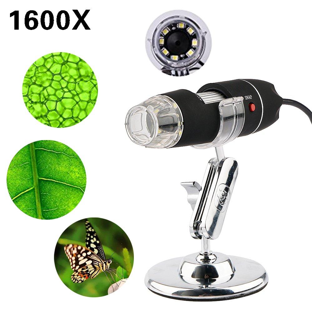 1600X Digital Microscope USB Endoscope Camera, 8 LED Mini Digital Microscope Compatible with Mac Window 7 8 10 Android Linux