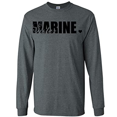 33447a2c Marine Sister Long Sleeve T-Shirt in Dark Heather Gray - Small