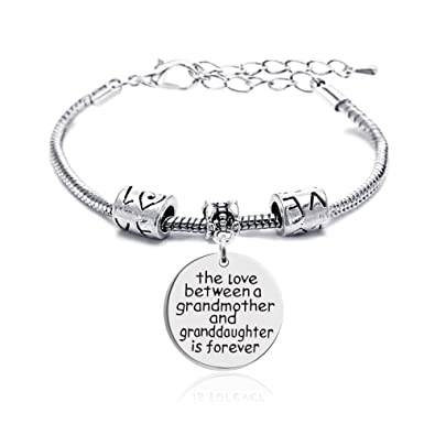 Lauhonmin Family Silver Small Love Heart Big Round Charm Pendant Bracelet Gift for Grandmother and Granddaughter Kj9KOUSr