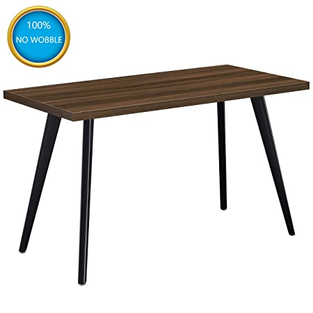 Computer Desk, Ticova 47 Home Office Desk Table with Sturdy Tapered Legs , Easy Assembly Writing Desk Computer Table with 1.4 Thickened Desktop, Walnut