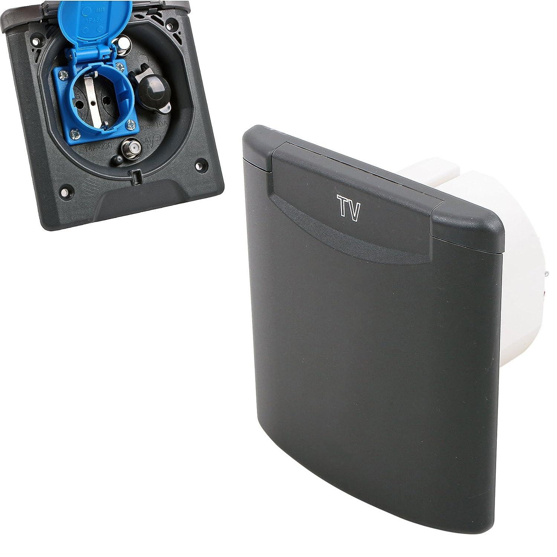 Vorzeltsteckdose Multi 12V und 230V, 2x Sat GRAU IP54, Magnetverschluss Reimo