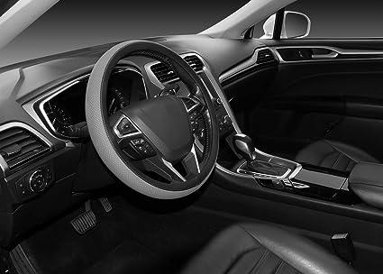 Seg Direct Lenkradhülle Universal Lenkradbezug Lenkrad Abdeckung Aus Mikrofaser Leder 37 39 Cm Grau Auto