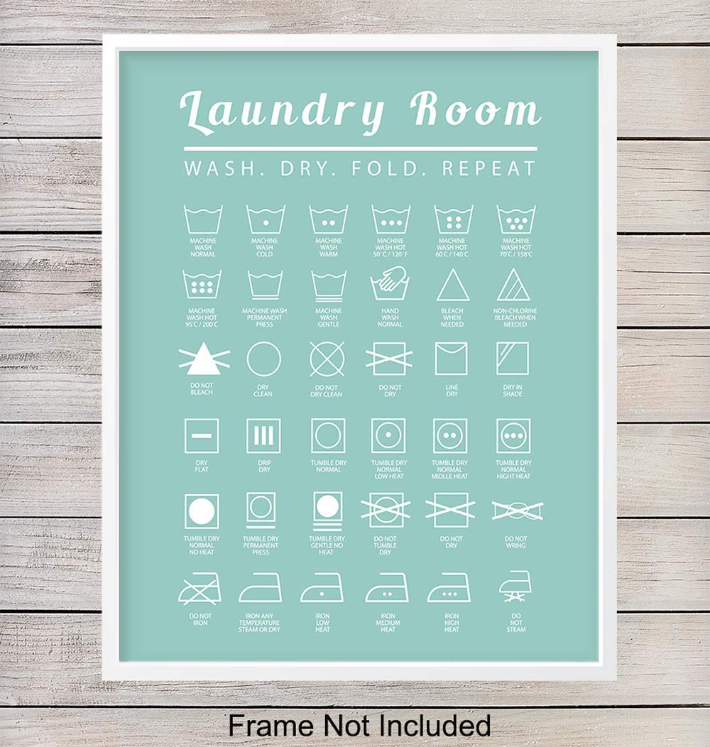 Laundry Room Typography Art Print - Funny Wall Art Poster - Chic Modern Home Decor - Makes a Great Affordable Housewarming Gift - 8x10 Photo- Unframed