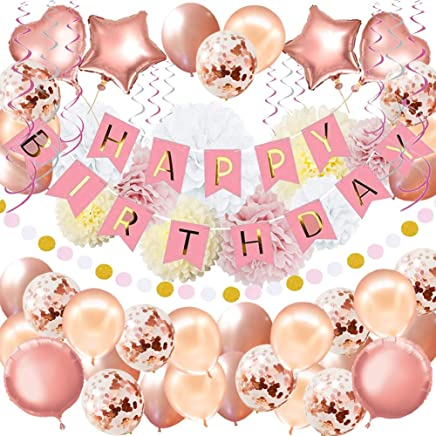 """59Pack Birthday Party Decorations Rose Gold Birthday Banner Birthday Decorations for Girls and Women Including """"HAPPY BIRTHDAY"""" Banner Foil Balloons Paper Pom Poms Confetti Balloon Party Supplies"""