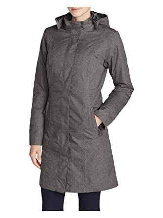 2d231eeaa Eddie Bauer Women's Girl On The Go Insulated Trench Coat, Dk Charcoal HTR  Regula