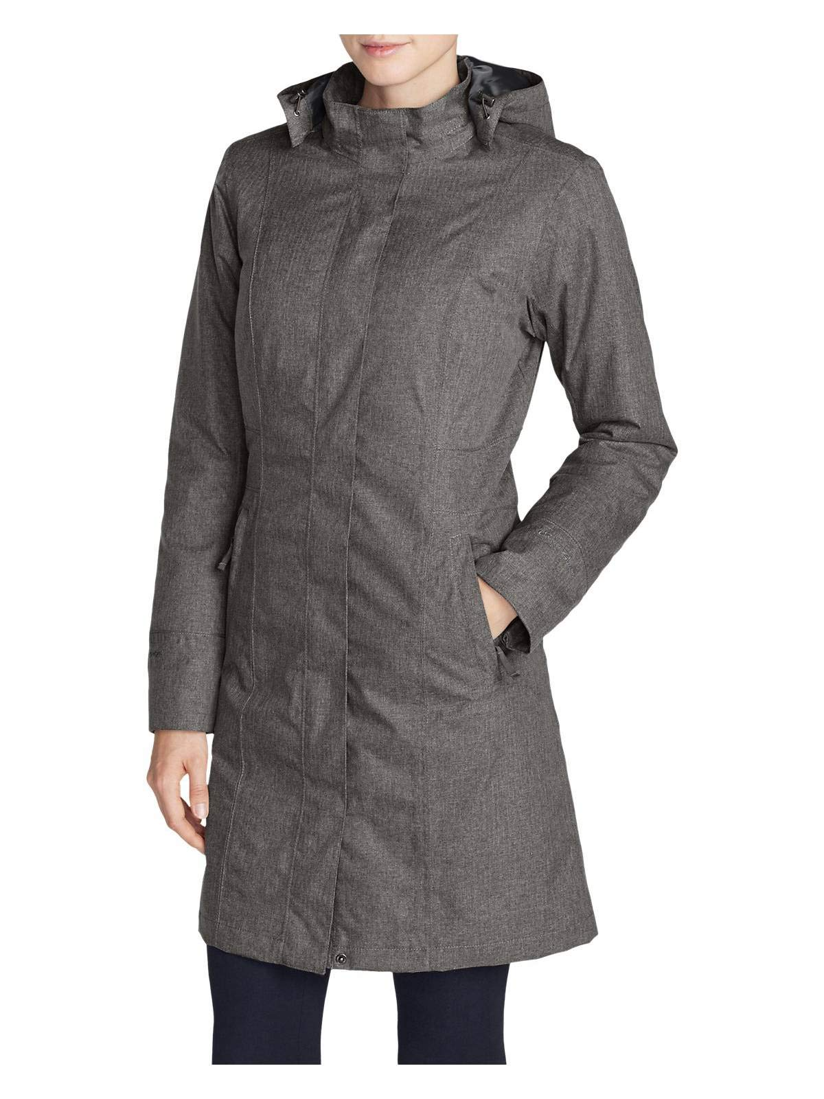 Eddie Bauer Women's Girl On The Go Insulated Trench Coat, Dk Charcoal HTR Petite