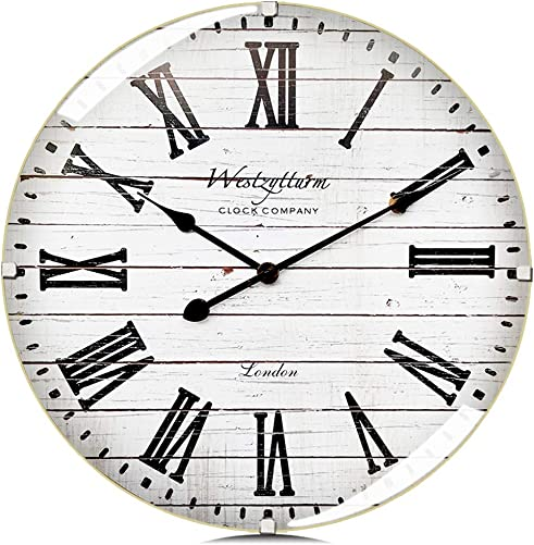 Westzytturm Wall Clock Wood 20 inch Luxury Curved Glass Roman Numeral Rustic Large Wooden Wall Clocks Battery Operated Non Ticking Silent Clocks for Living Room Decor Home Kitchen Office White