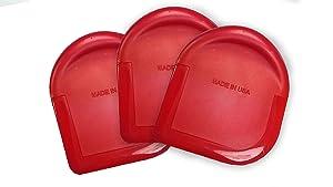 Mr Scraper - Set of 3 - Pot Scraper - Pan Scraper - Nylon Food Dish Scrubber - Heat Resistant Pot Scrapers - Dishwasher Safe Cleaning Brush Accessories - Kitchen Scraper Tools - Red