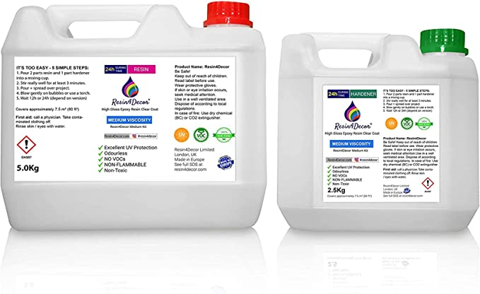 Epoxy Art Resin Clear Medium Viscosity Non-toxic UV Resin4Decor, 7.5Kg: Amazon.co.uk: DIY & Tools