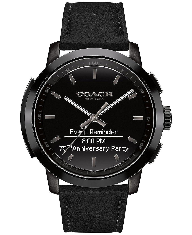 Coach Men s Bleecker Smart Black Leather Strap Smart Watch 44mm 14602335