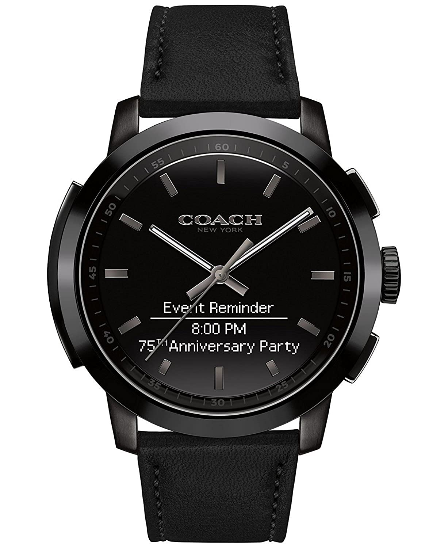 Coach Mens Bleecker Smart Black Leather Strap Smart Watch 44mm 14602335