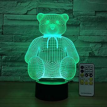 Ganjue Sentado Cute Bear 3D Usb Led Lámpara De Mesa Luz De La ...