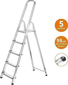 Escaleras Plegables Aluminio 5 Peldaños de Tijera Super Resistente hasta 150Kg, Acero y Aluminio Antideslizantes, Altura de Trabajo hasta 290cm | Packer PRO: Amazon.es: Bricolaje y herramientas