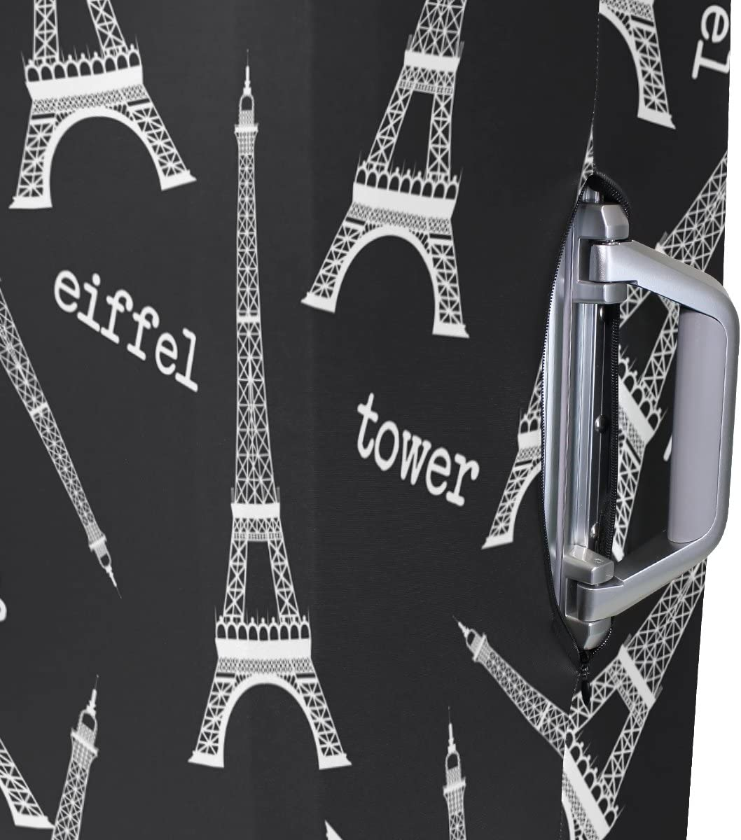 Luggage Protective Covers with Black White Eiffel Tower Washable Travel Luggage Cover 18-32 Inch