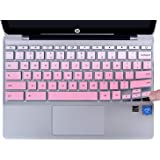 CaseBuy Keyboard Cover Compatible with 2019 2018 HP Chromebook 11 x360 11.6 11-ae and HP Chromebook 11 G2 / G3 / G4 / G5 / G6 EE / G7 EE 11.6 Inch Chromebook Protective Skin, Ombre Pink