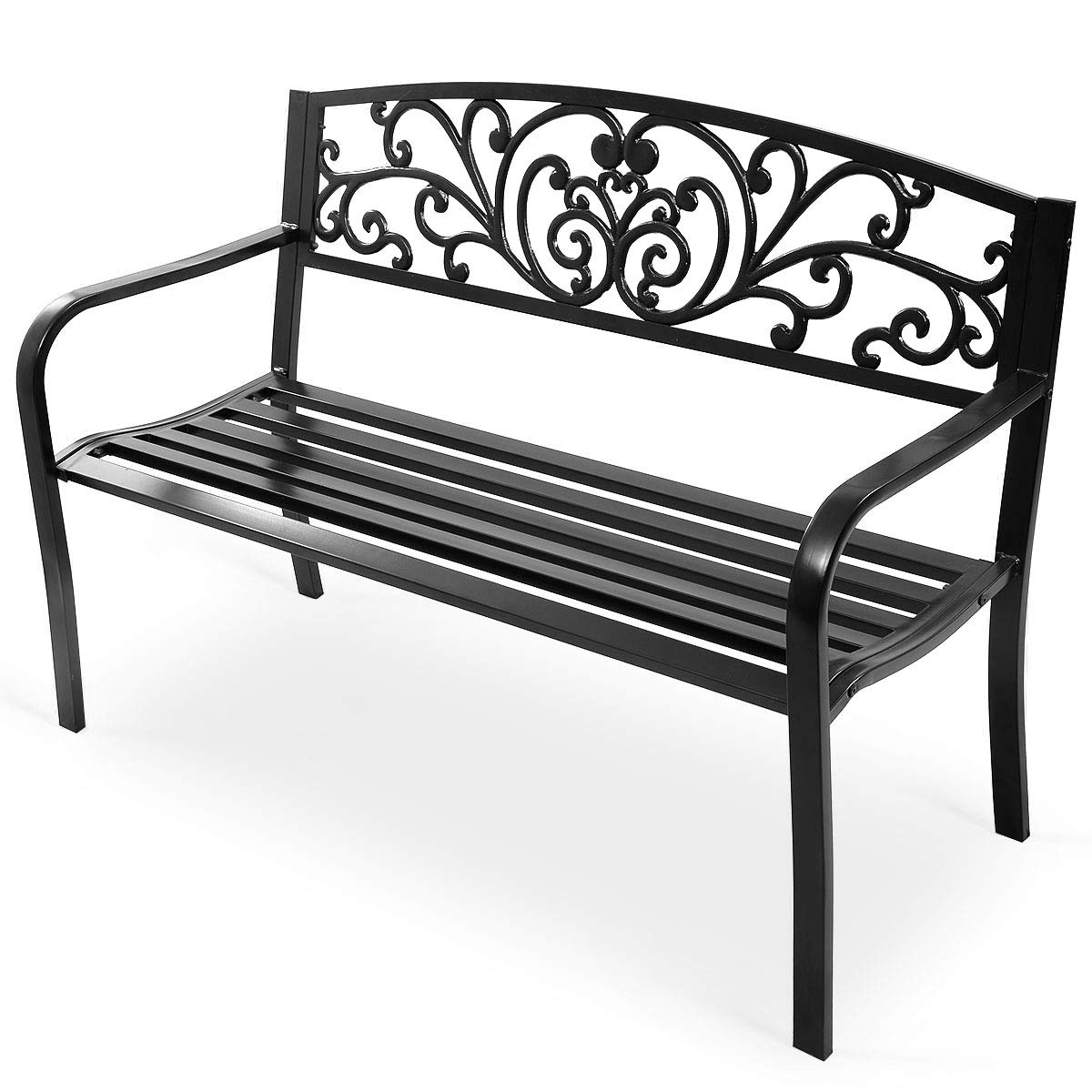 Giantex 50 Patio Garden Bench Loveseats Park Yard Furniture Decor Cast Iron Frame Black Steel with Floral Scroll Pattern